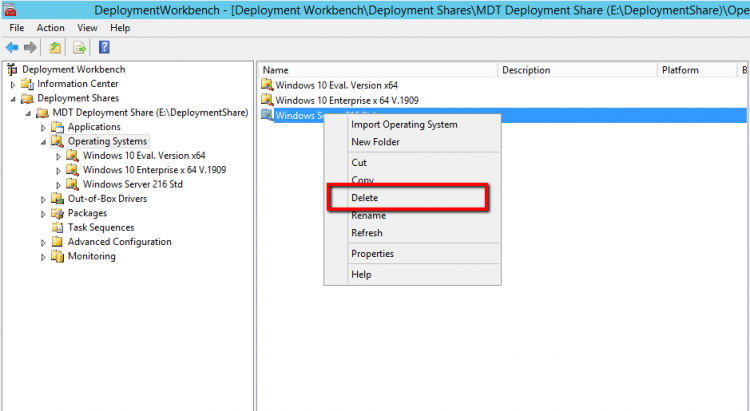 Delete Operating System from MDT