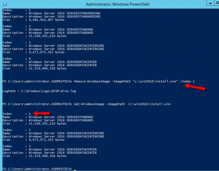 Remove options from Windows Image with powershell command