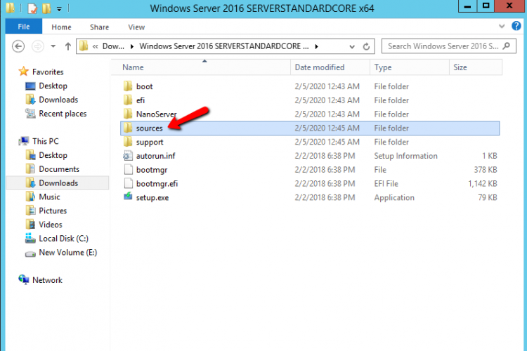 Open the sources folder from the Windows Image